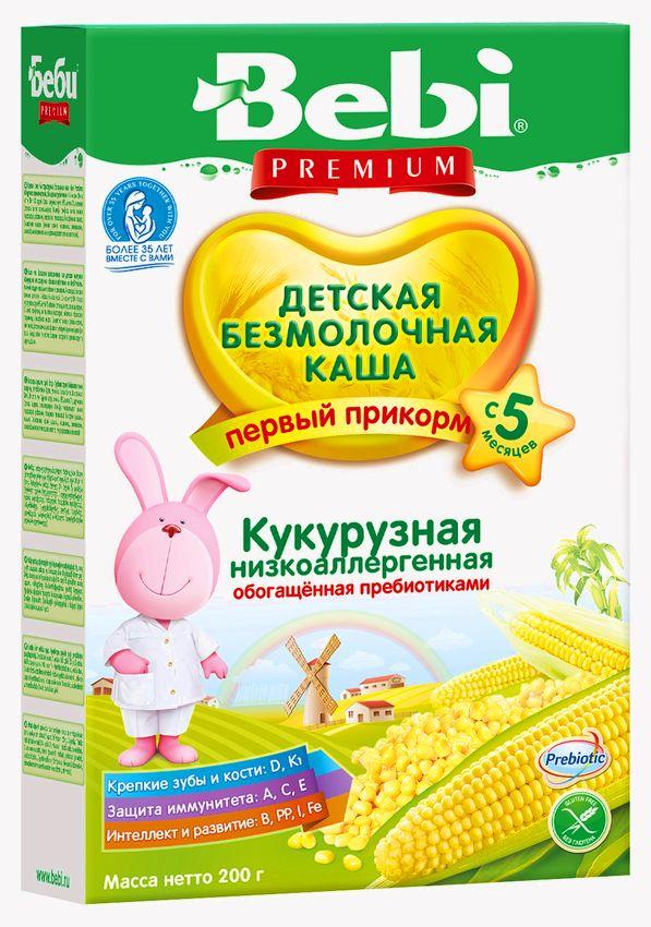 """""""Беби"""" каша """"Bebi Premium"""" безмолочная низкоаллергенная кукурузная обогащенная пребиотиками 200,0"""