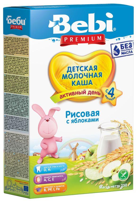 """""""Беби"""" каша """"Bebi Premium"""" молочная """"Рисовая с яблоками"""" 250,0"""