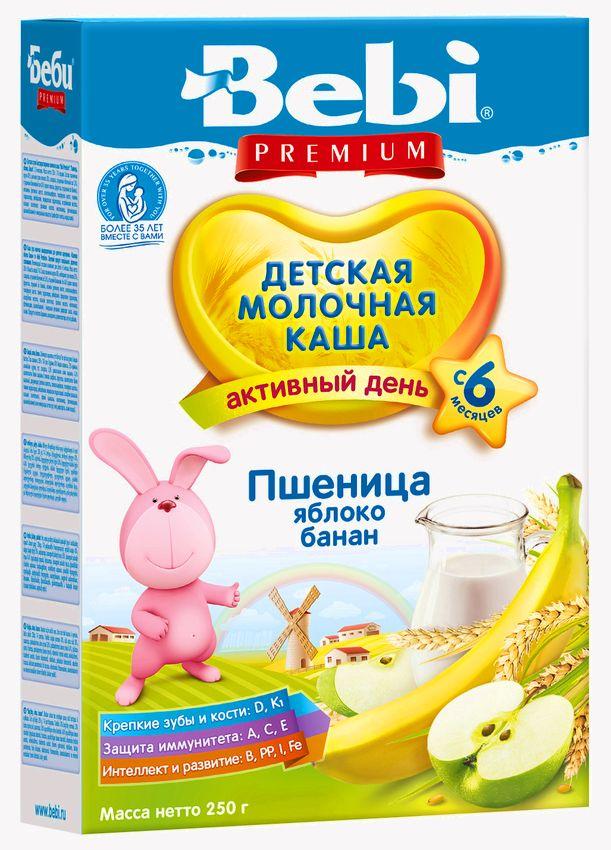 """""""Беби"""" каша """"Bebi Premium"""" молочная """"Пшеница, Яблоко, Банан"""" 250,0"""