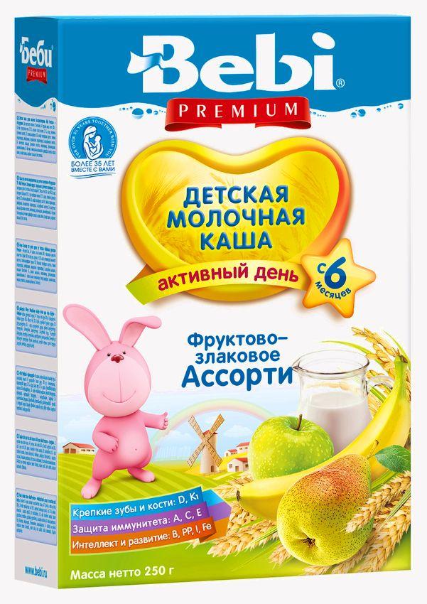 """""""Беби"""" каша """"Bebi Premium"""" молочная """"Фруктово-злаковое ассорти"""" 250,0"""