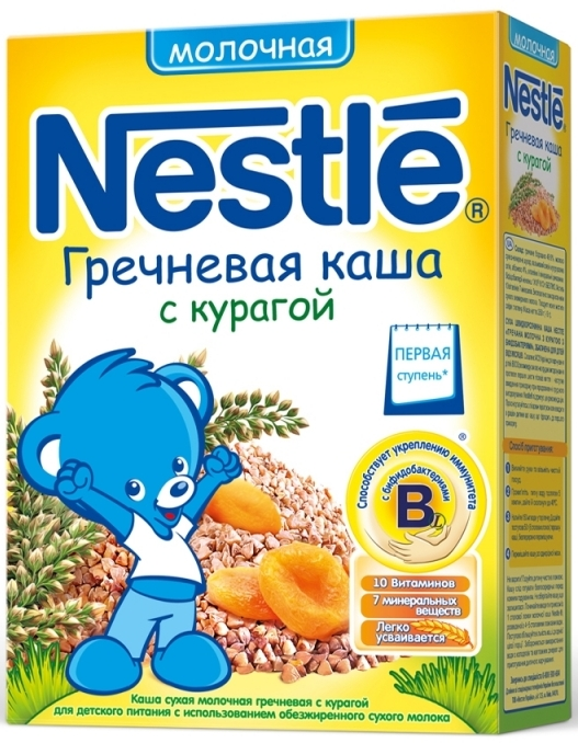 """Нестле"" каша молочная ""Гречневая с курагой"" (с сахаром, с бифидобактериями) 250,0"