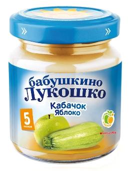"""Пюре """"Кабачок-Яблоко (без сахара, без соли)"""" 100,0 """"Лукошко"""""""