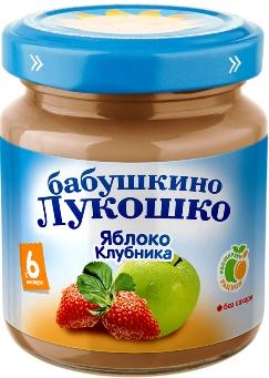 """Пюре """"Яблоко-Клубника (без сахара)"""" 100,0 """"Лукошко"""""""
