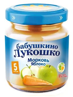 "Пюре ""Морковь-Яблоко (без сахара, без соли)"" 100,0 ""Лукошко"""