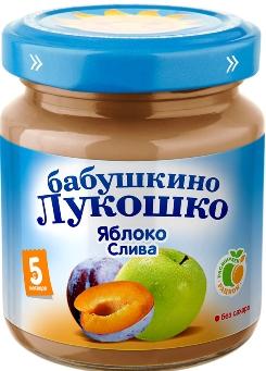 """Пюре """"Яблоко-Слива (без сахара)"""" 100,0 """"Лукошко"""""""
