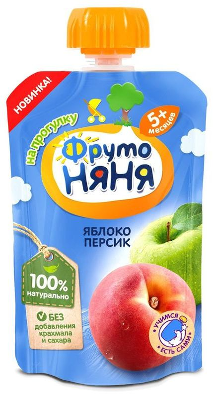 "Пюре ""Яблоко-Персик (без сахара)"" 90,0 ""ФрутоНяня"" (пауч-упаковка)"