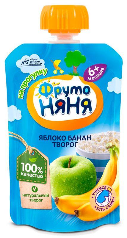 "Пюре ""Яблоко-Банан с творогом (без сахара)"" 90,0 ""ФрутоНяня"" (пауч-упаковка)"