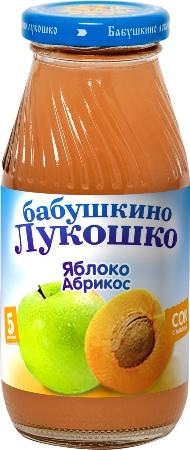 "Сок ""Яблоко-Абрикос (с мякотью, без сахара)"" 200 мл ""Лукошко"""
