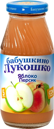 "Сок ""Яблоко-Персик (с мякотью, без сахара)"" 200 мл ""Лукошко"""