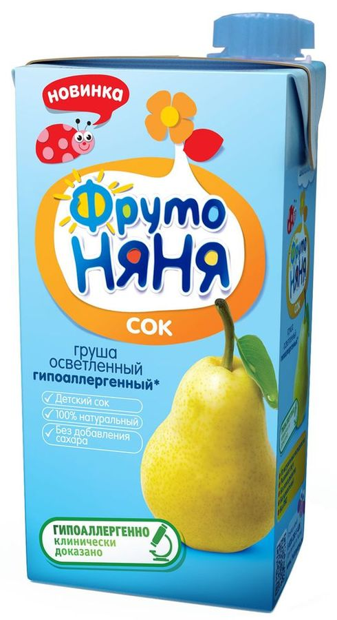 """Сок грушевый осветленный (гипоаллергенный, без сахара) 500 мл """"ФрутоНяня"""""""