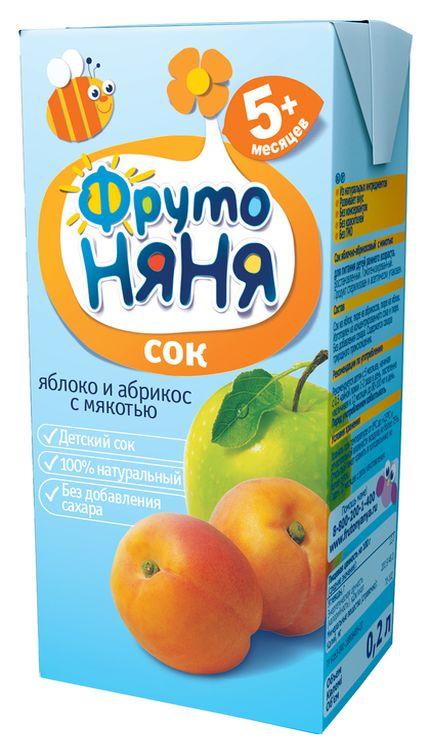 "Сок ""Яблоко-Абрикос (с мякотью, без сахара)"" 200 мл ""ФрутоНяня"""