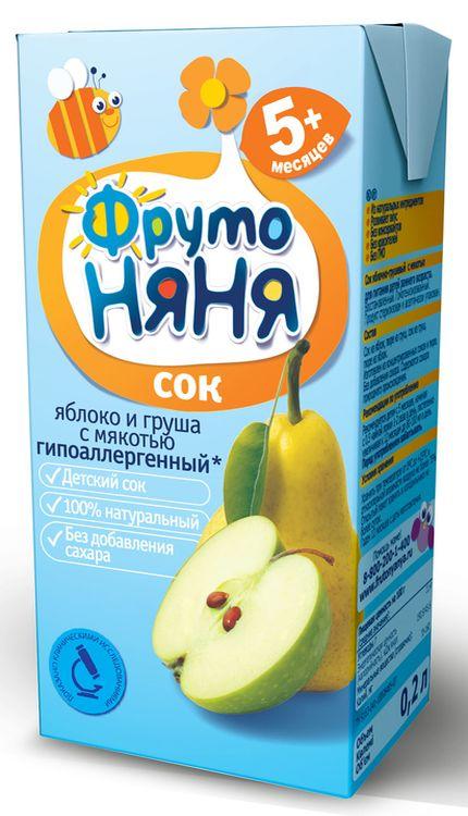 """Сок """"Яблоко-Груша (с мякотью, гипоаллергенный, без сахара)"""" 200 мл """"ФрутоНяня"""""""