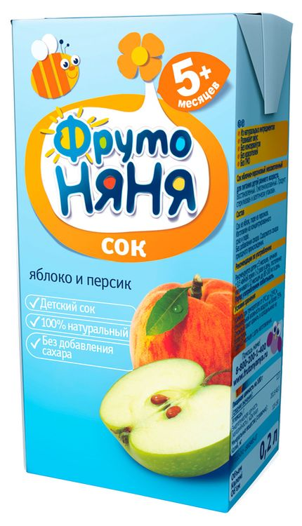 """Сок """"Яблоко-Персик (неосветленный, без сахара)"""" 200 мл """"ФрутоНяня"""""""
