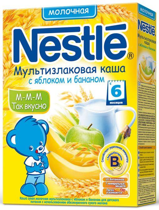 """Нестле"" каша молочная ""Мультизлаковая с яблоком и бананом"" ((пшеница, гречка, рис, овес, кукуруза), без сахара, с бифидобактериями) 250,0"