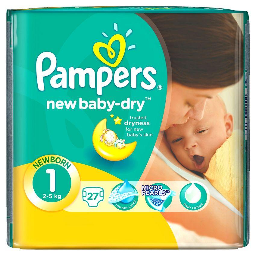 """Подгузники Памперс """"Pampers new baby-dry №1 (2-5 кг) newborn (для новорожденных)"""" 27 штук в упак."""