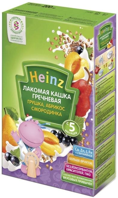 """""""Хайнц"""" каша """"Heinz"""" молочная """"Лакомая кашка гречневая ГРУШКА, АБРИКОС, СМОРОДИНКА (с пребиотиками)"""" 200,0"""