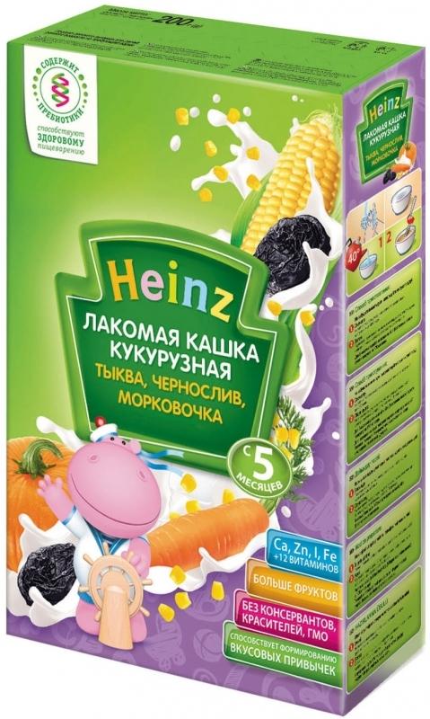 """Хайнц"" каша ""Heinz"" молочная ""Лакомая кашка кукурузная ТЫКВА, ЧЕРНОСЛИВ, МОРКОВОЧКА (с пребиотиками)"" 200,0"