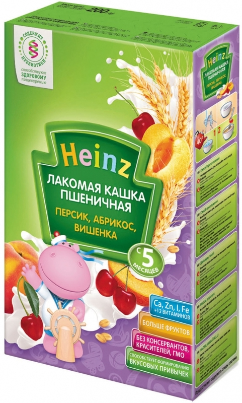 """Хайнц"" каша ""Heinz"" молочная ""Лакомая кашка пшеничная ПЕРСИК, АБРИКОС, ВИШЕНКА (с пребиотиками)"" 200,0"