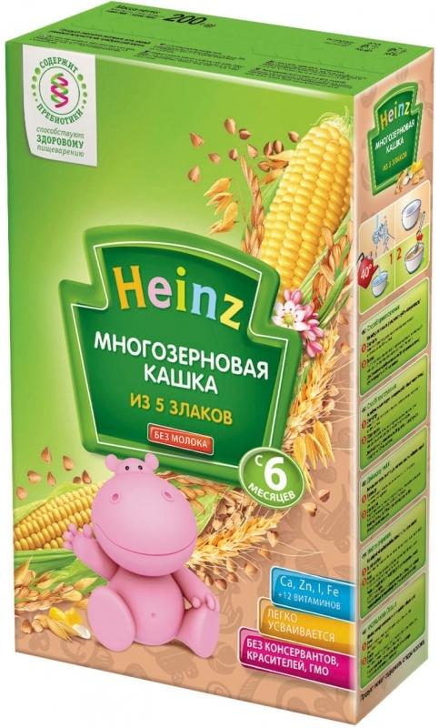 """""""Хайнц"""" каша """"Heinz"""" безмолочная """"Многозерновая кашка из 5-ти злаков (с пребиотиками)"""" 200,0"""