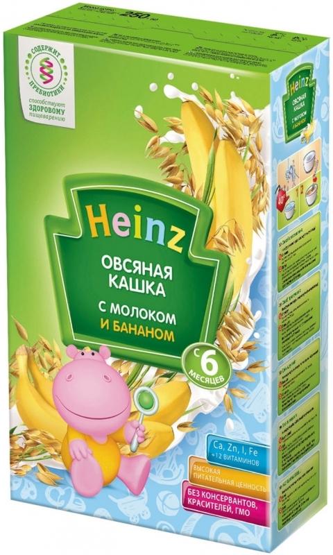 """""""Хайнц"""" каша """"Heinz"""" молочная """"Овсяная кашка с молоком и бананом (с пребиотиками)"""" 250,0"""