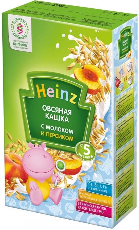 """""""Хайнц"""" каша """"Heinz"""" молочная """"Овсяная кашка с молоком и персиком (с пребиотиками)"""" 250,0"""