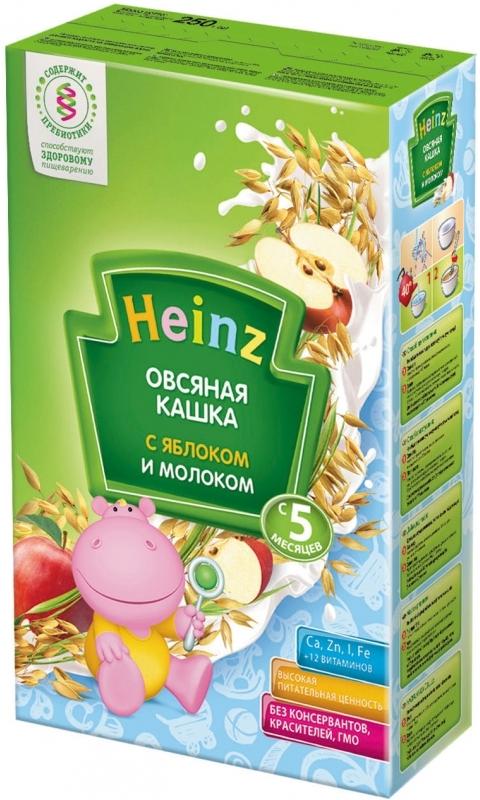 """""""Хайнц"""" каша """"Heinz"""" молочная """"Овсяная кашка с молоком и яблоком (с пребиотиками)"""" 250,0"""