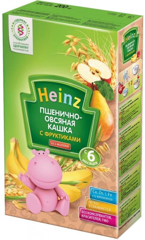 """""""Хайнц"""" каша """"Heinz"""" безмолочная """"Пшенично-овсяная кашка с фруктиками (с пребиотиками)"""" 200,0"""