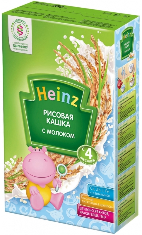 """""""Хайнц"""" каша """"Heinz"""" молочная """"Рисовая кашка с молоком (с пребиотиками)"""" 250,0"""