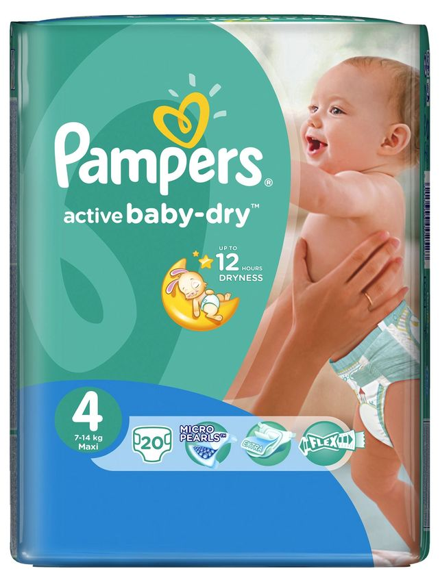"Подгузники Памперс ""Pampers active baby-dry №4 (7-14 кг)"" 20 штук в упак."