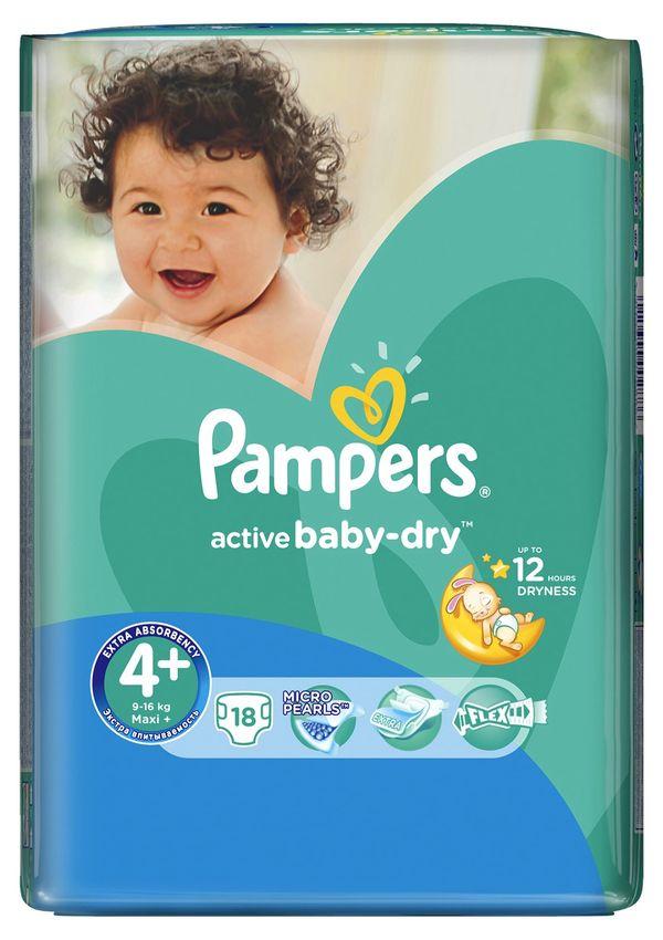 """Подгузники Памперс """"Pampers active baby-dry №4+ (9-16 кг)"""" 18 штук в упак."""