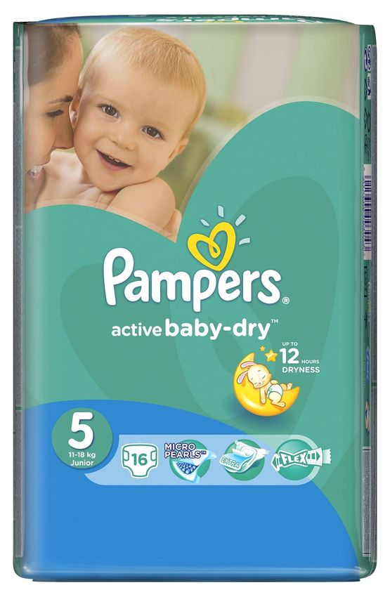 """Подгузники Памперс """"Pampers active baby-dry №5 (11-18 кг)"""" 16 штук в упак."""