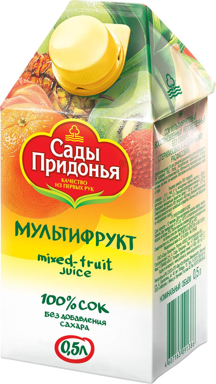"""Сок мультифруктовый (с мякотью, без сахара) 500 мл """"Сады Придонья"""""""