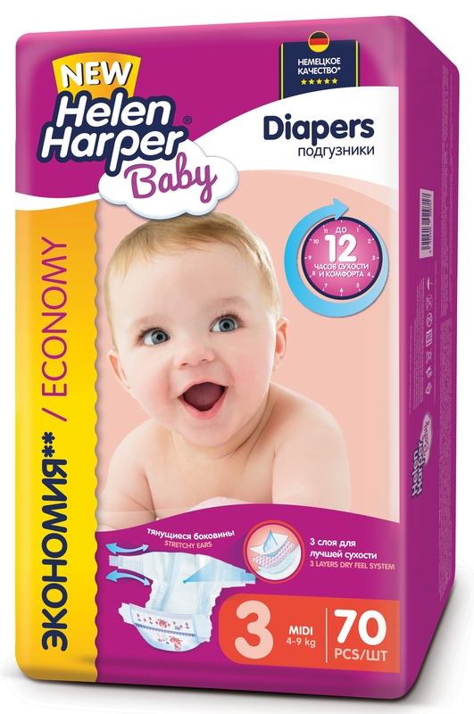 """Подгузники """"Helen Harper Baby"""" №3 (4-9 кг) Midi, 70 штук в упак."""