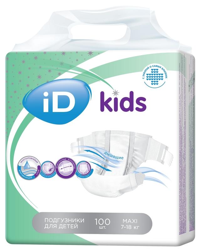 """Подгузники """"iD kids"""" №4 (7-18 кг) Maxi, 100 штук в упак."""