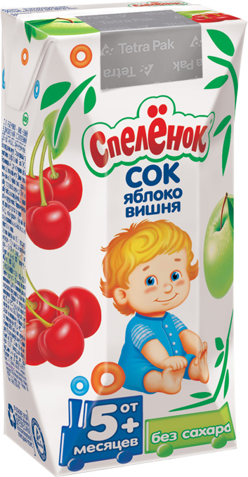 """Сок """"Яблоко-Вишня (осветленный, без сахара)"""" 200 мл """"Спеленок"""""""