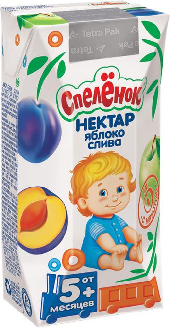 """Нектар """"Яблоко-Слива (с мякотью)"""" 200 мл """"Спеленок"""""""