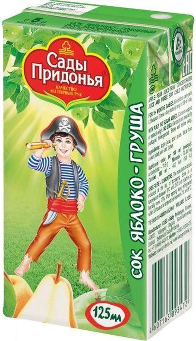 """Сок """"Яблоко-Груша (с мякотью, без сахара) 125 мл """"Сады Придонья"""""""