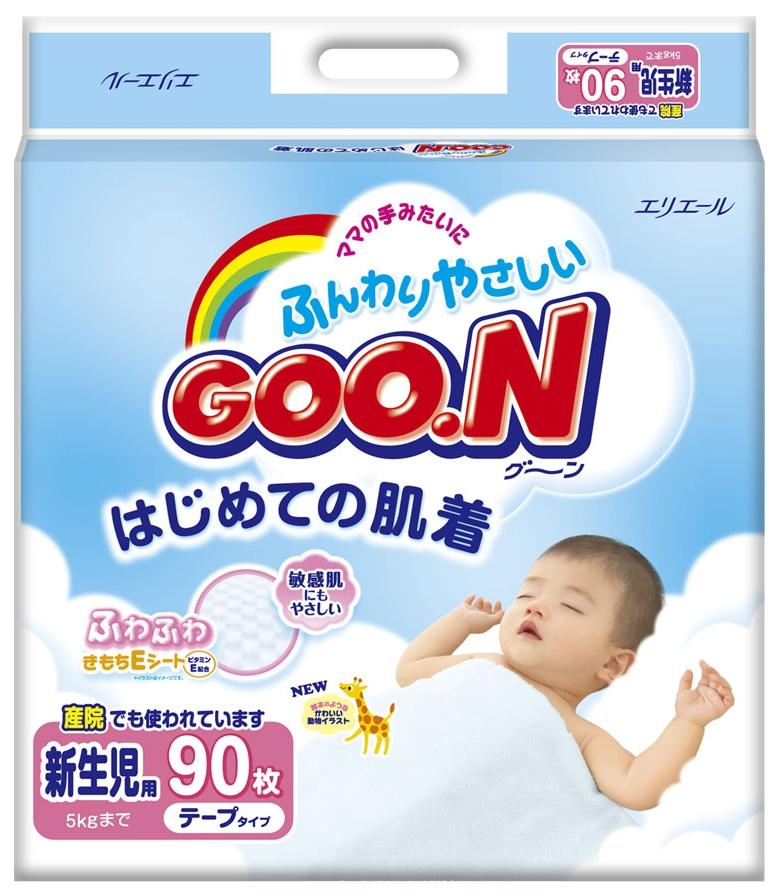 """Подгузники """"GOO.N (до 5 кг)"""" для новорожденных, 90 штук в упак."""