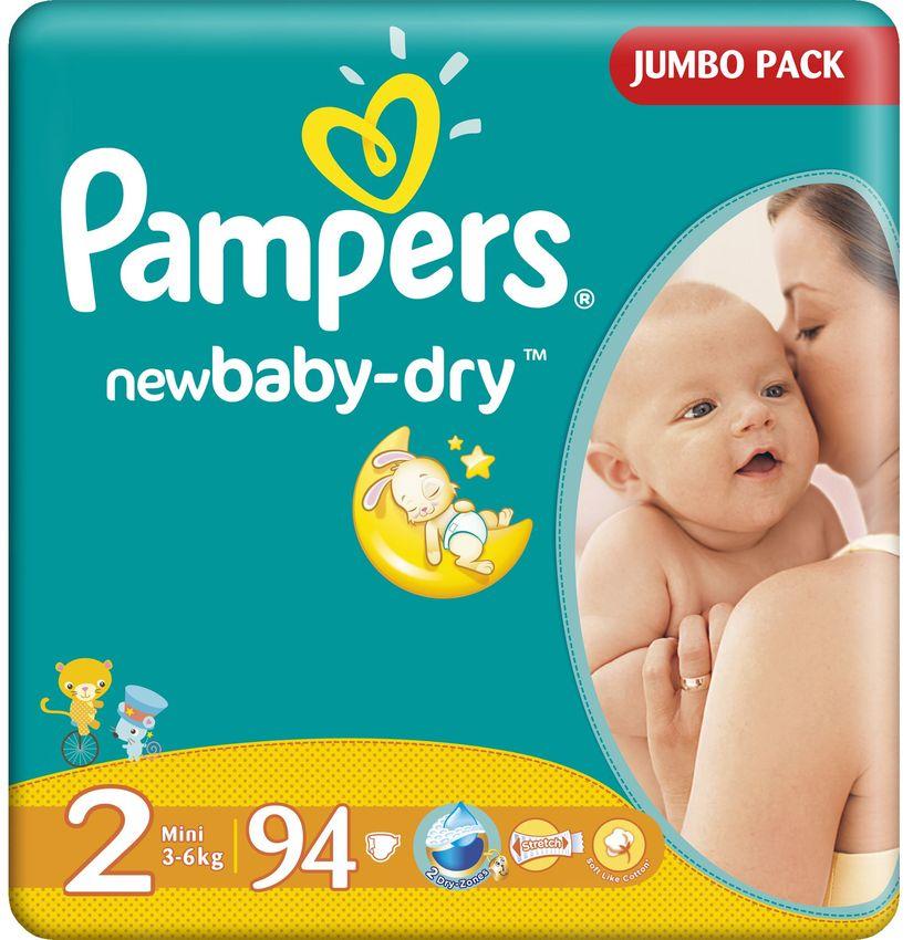 """Подгузники Памперс """"Pampers new baby-dry №2 (3-6 кг)"""" 94 штуки в упак."""