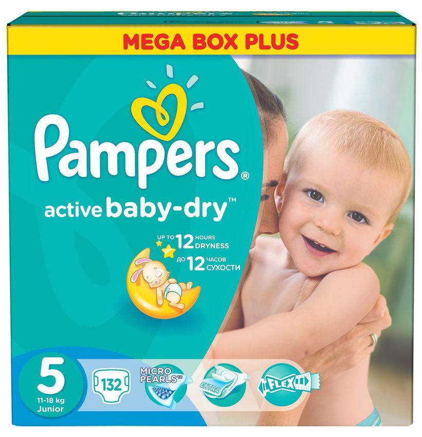 """Подгузники Памперс """"Pampers active baby-dry №5 (11-18 кг)"""" 132 штуки в упак."""
