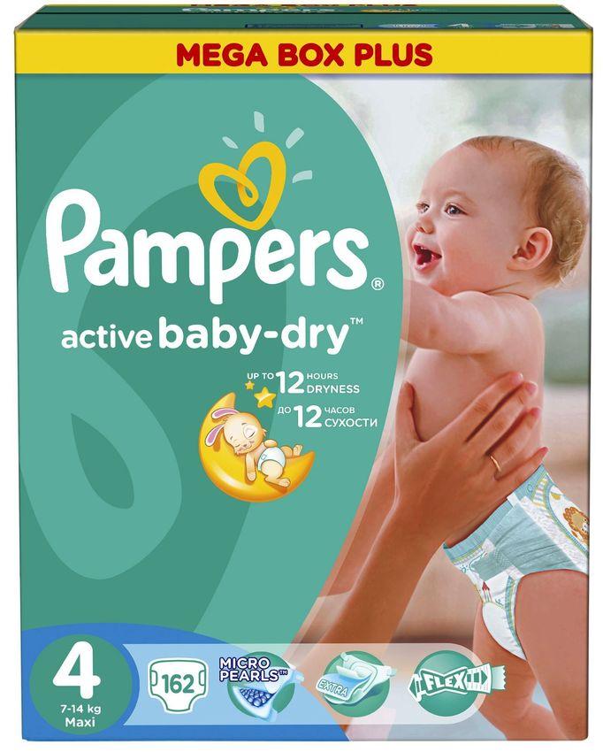 """Подгузники Памперс """"Pampers active baby-dry №4 (7-14 кг)"""" 162 штуки в упак."""