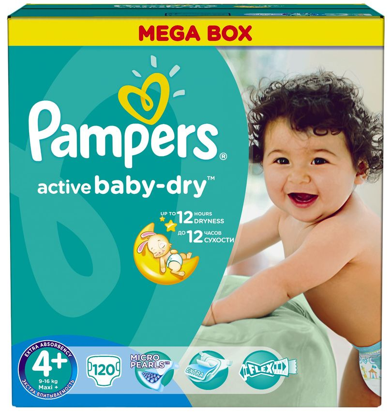 "Подгузники Памперс ""Pampers active baby-dry №4+ (9-16 кг)"" 120 штук в упак."
