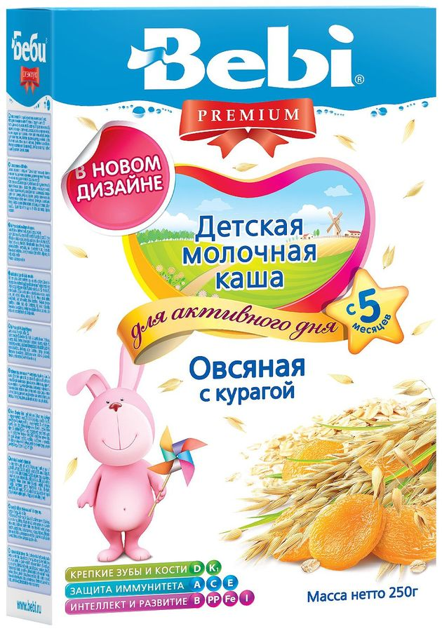 """Беби"" каша ""Bebi Premium"" молочная ""Овсяная с курагой"" 250,0"
