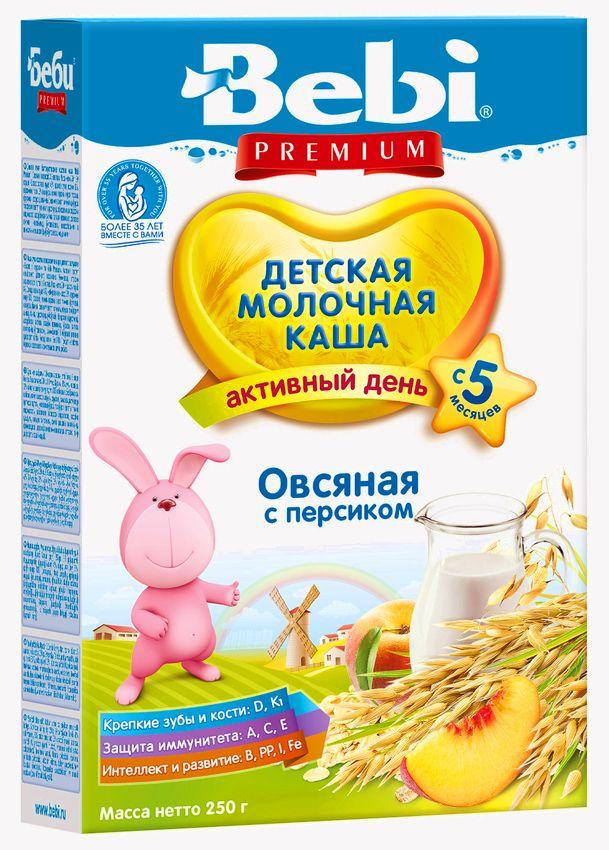 """""""Беби"""" каша """"Bebi Premium"""" молочная """"Овсяная с персиком"""" 250,0"""