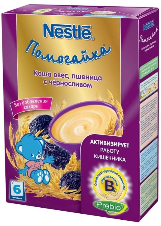 """""""Нестле"""" каша безмолочная ПОМОГАЙКА """"Овес-пшеница с черносливом"""" (без сахара, с пребиотиками, с бифидобактериями) 200,0"""