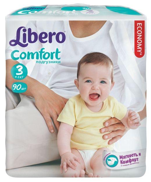 """Подгузники Либеро """"Libero Comfort №3 (4-9 кг)""""  90 штук в упак."""