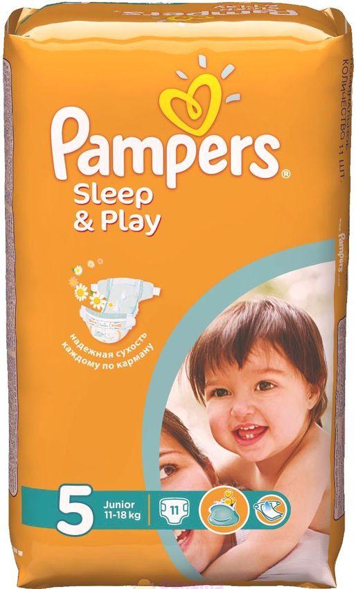"""Подгузники Памперс """"Pampers Sleep & Play №5 (11-18 кг), с ароматом ромашки"""" 11 штук в упак."""