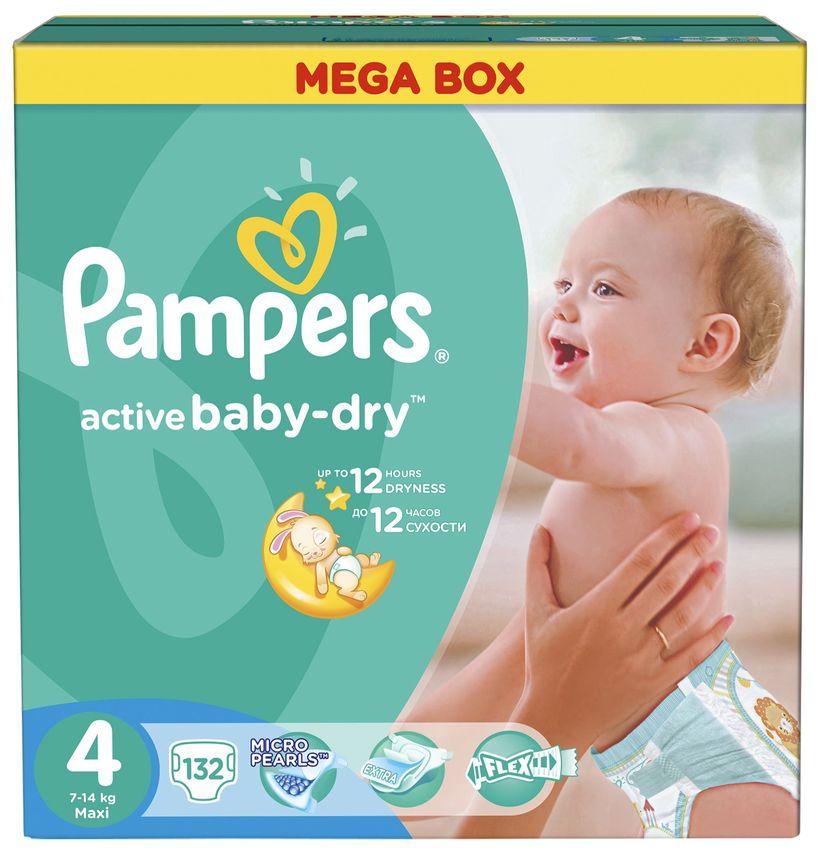 """Подгузники Памперс """"Pampers active baby-dry №4 (7-14 кг)"""" 132 штуки в упак."""