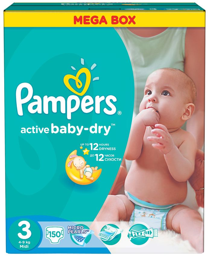 "Подгузники Памперс ""Pampers active baby-dry №3 (4-9 кг)"" 150 штук в упак."