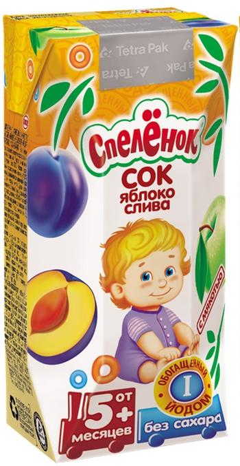 """Сок """"Яблоко-Слива, обогащенный йодом (с мякотью, без сахара)"""" 200 мл """"Спеленок"""""""